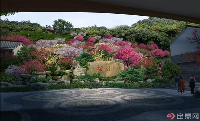 某公园梅园园林景观设计效果图psd格式,该景观设计方案造型