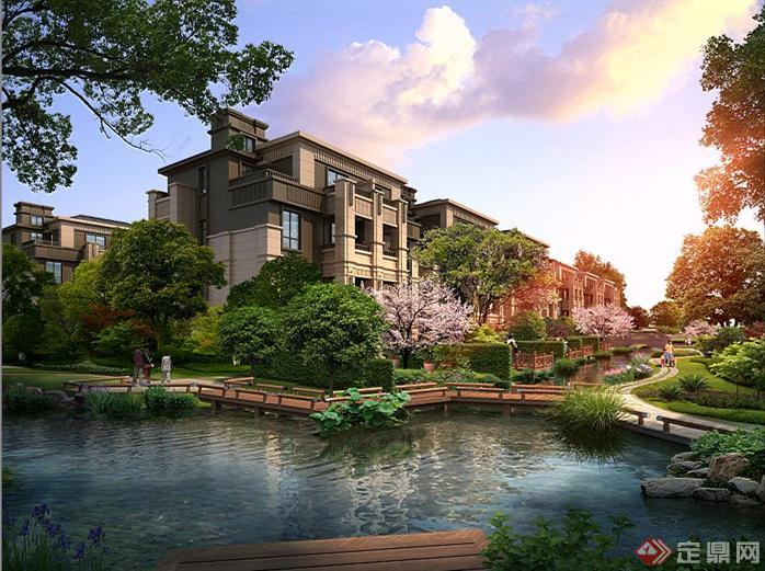 某别墅区滨水步道园林景观设计效果图psd格式,该景观设计方