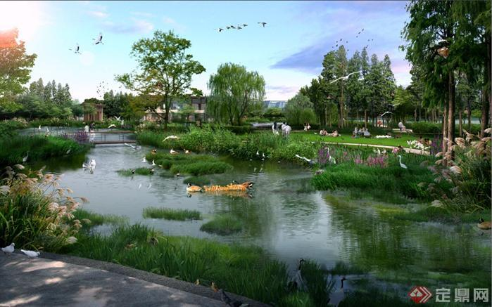 某公园水景区和草坪区园林景观设计效果图psd格式