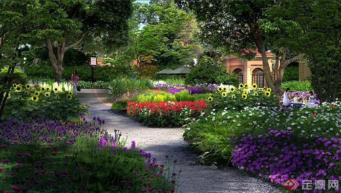 某公园花境园林景观设计效果图psd格式