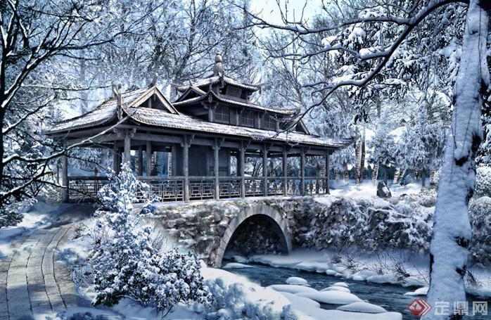 某风景区廊桥雪景园林景观设计效果图psd格式
