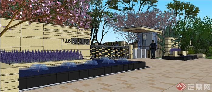 重庆龙湖某别墅区入口景观方案设计整体su模型