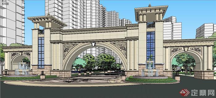 欧式恒大风格小区入口大门及中央景观设计su