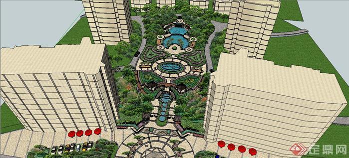 某欧式风格小区入口及中轴景观设计su(sketchup)模型