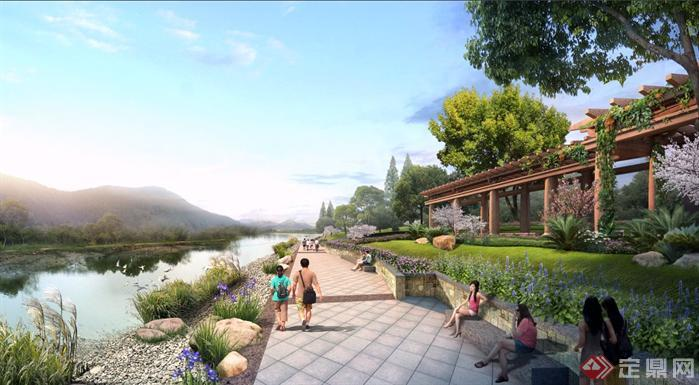 某河道长廊和滨水步道园林景观设计效果图psd格式