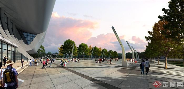 某客运站入口广场园林景观设计效果图psd格式
