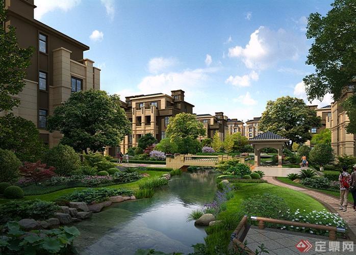 某别墅区自然水景小桥园林景观设计效果图psd格式,该景观设