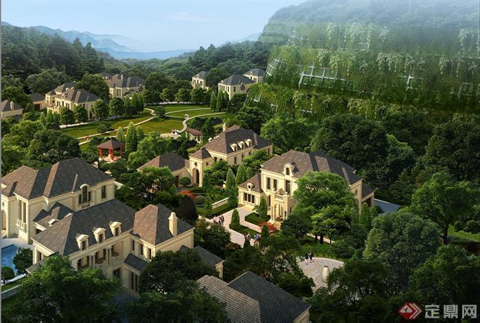 某别墅局部园林景观设计鸟瞰效果图psd格式