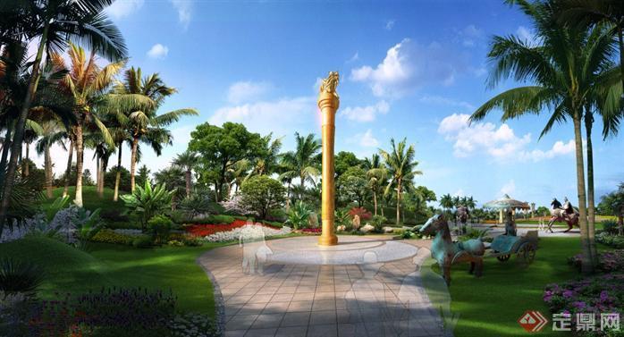 某公园景观柱雕塑园林景观设计效果图psd格式,该景观设计方