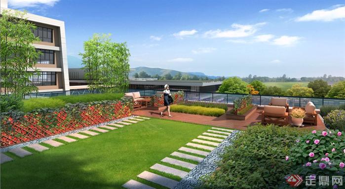 某屋顶花园观景区园林景观设计效果图psd格式