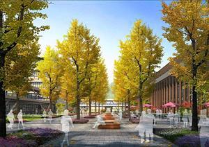 某校园银杏林园林景观设计效果图psd格式