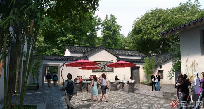 某中式庭院休闲区园林景观设计效果图psd格式