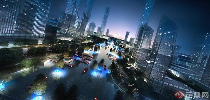 某城市水景游览区园林景观设计效果图psd格式,该景观设计方
