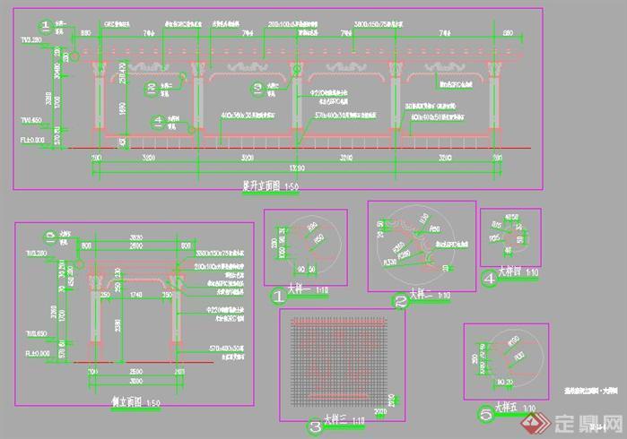 某小区欧式风格弧形廊架施工详图