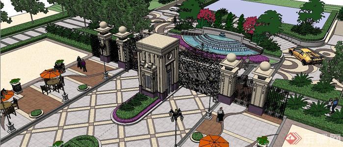 某法式風格居住區入口大門和景觀設計sketchup(su)3d