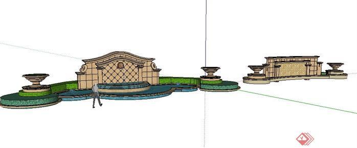 2款欧式景墙水景设计sketchup(su)3d模型