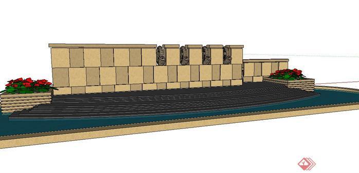 某欧式风格水景墙设计sketchup(su)3d模型