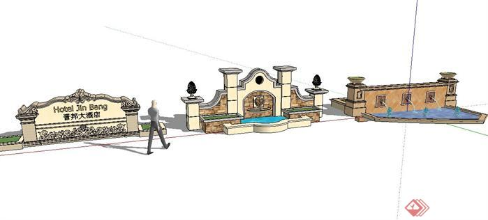 3款精选欧式景观墙设计SketchUp(SU)3D模型