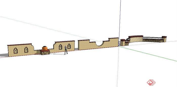 某欧式景墙矮墙设计sketchup(su)3d模型