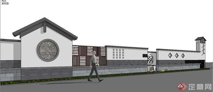 某中式景观围墙设计sketchup(su)3d模型