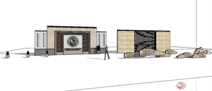 某庭院景观现代中式风格景墙设计sketchup(su)3d模型图片