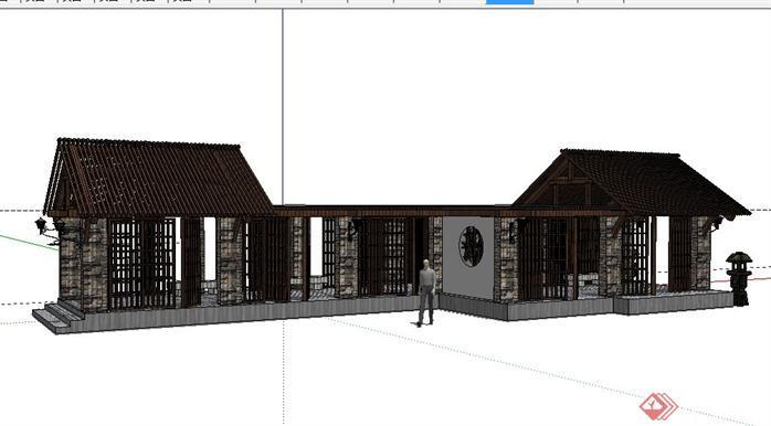某公园现代中式亭廊组合景观设计SketchUp(SU)3D模型