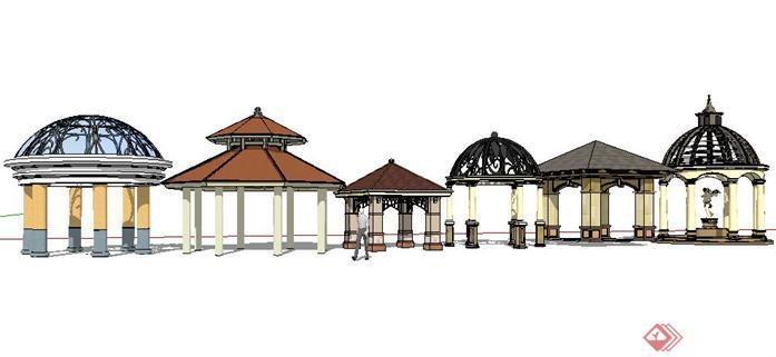 六款欧式风格亭子设计SketchUp SU 3D模型图片