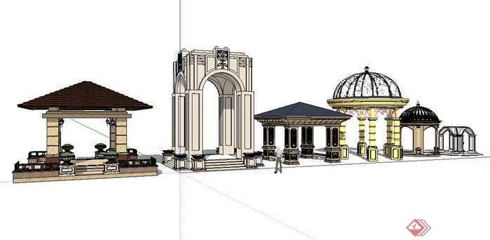 六款经典欧式景观亭设计sketchup(su)3d模型