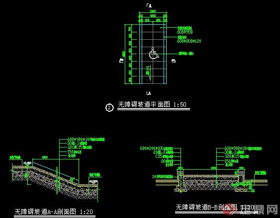 某图纸无障碍坡道施工图中sc钢结构公园cc图片