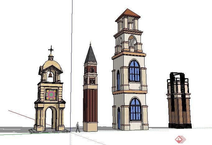 四款欧式风格塔楼设计sketchup(su)3d模型