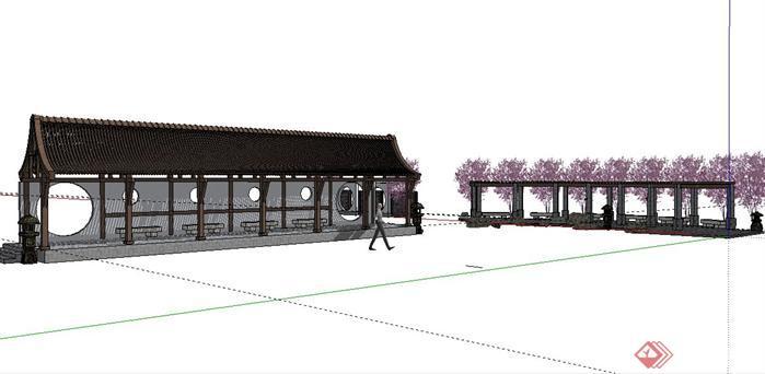 景观长廊和花架设计SketchUp(SU)3D模型