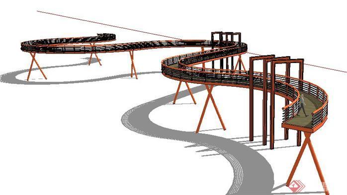 某湿地公园空中走廊景观设计SketchUp(SU)3D模型