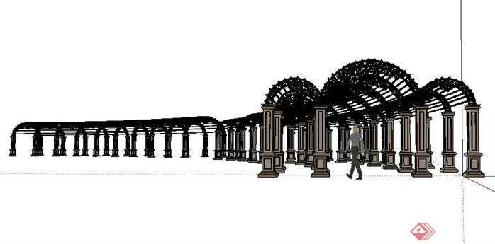 欧式铁艺花架设计sketchup(su)3d模型图片