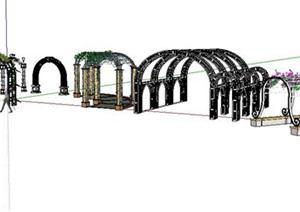 欧式铁艺拱形花架sketchup(su)3d模型图片