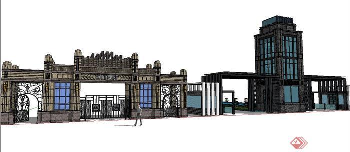 某现代欧式风格居住区入口大门设计sketchup(su)3d