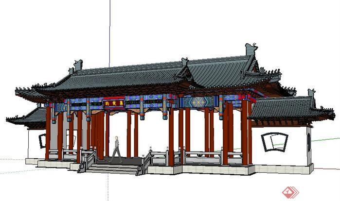 趵突泉公园入口大门古建筑设计sketchup(su)3d模型