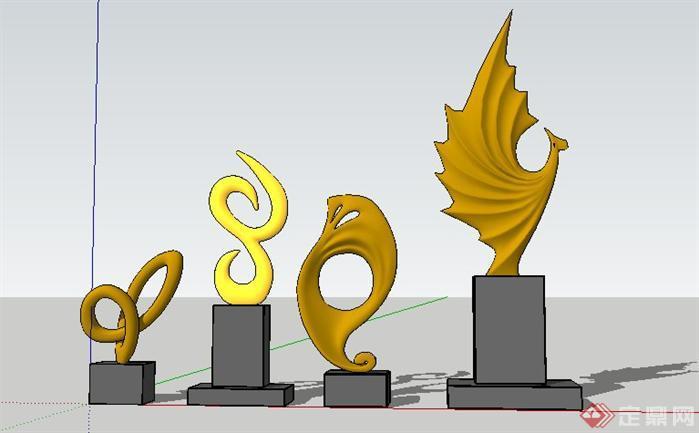 现代雕塑景观小品sketchup(su)3d模型