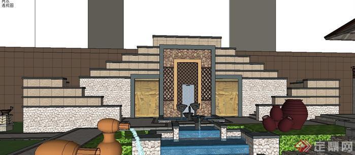 某小区东南亚风格园林景观场景设计方案SketchUp SU 3D模型