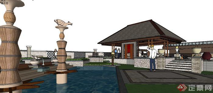 某小区东南亚风格园林景观场景设计方案sketchup su 3d模