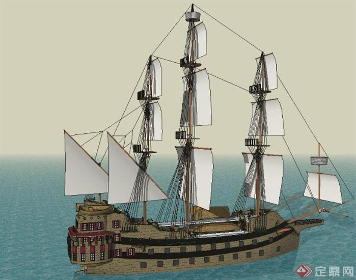 两个制作精美的帆船SketchUp(SU)3D模型1