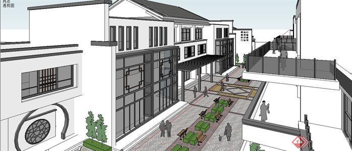新中式小商业街建筑规划设计susketchup(su)3d模型5图片