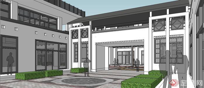 新中式小商业街建筑规划设计susketchup(su)3d模型