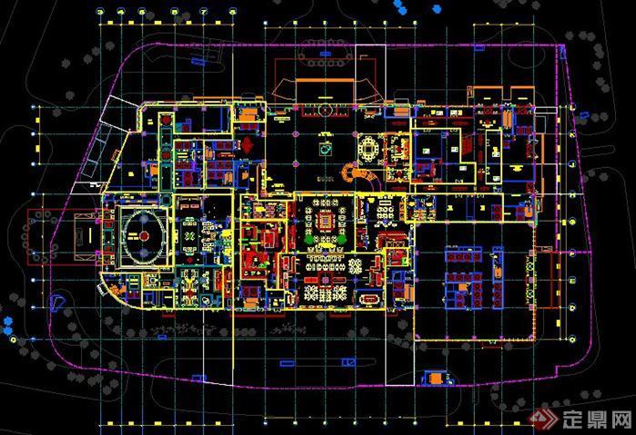 大连万达中心希尔顿酒店建筑设计平面图