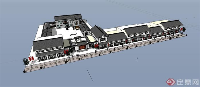 中式风格商业街建筑设计SketchUp(SU)3D模型2