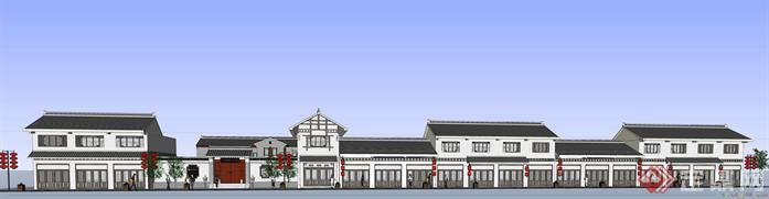 中式风格商业街建筑设计SketchUp(SU)3D模型1