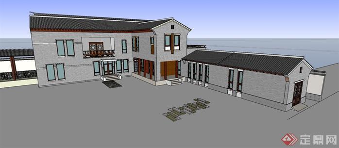 中式风格商业街建筑设计SketchUp(SU)3D模型4