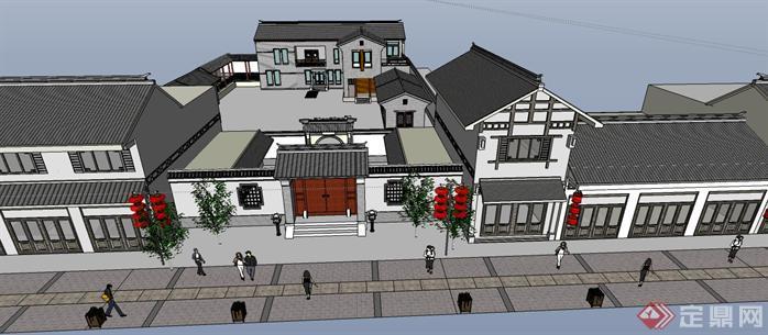 中式风格商业街建筑设计SketchUp(SU)3D模型5