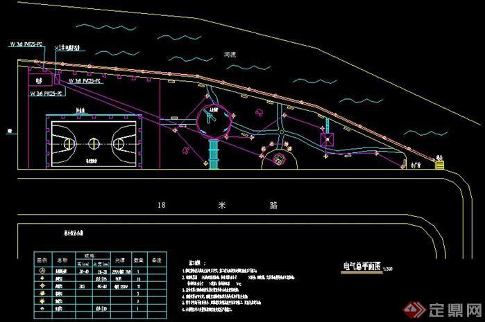 小型公园索引 铺装 竖向设计 给排水 电气总平面图