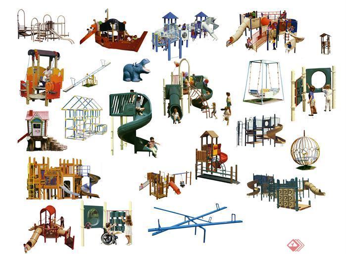 国外公共儿童游乐设施psd配景素材