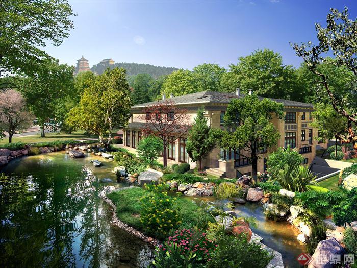 别墅花园溪流景观设计psd效果图
